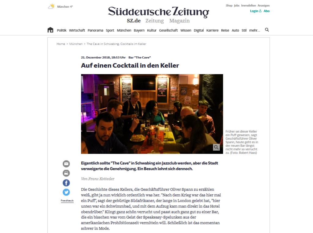 Artikel über The Cave in der Süddeutschen Zeitung - von Franz Kotteder